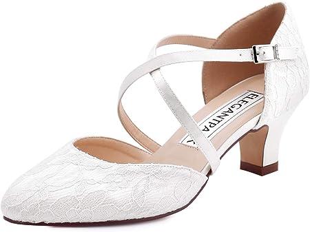 ElegantPark HC1920 Mujeres Correa Cruzada Zapatos de Boda para la Novia Tacones Bajos Zapatos de Novia de Encaje con Punta Cerrada