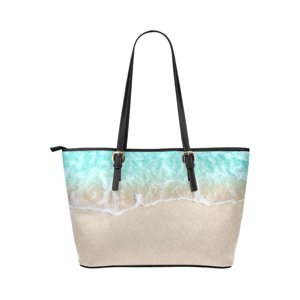 Sky Blue Wave With Sandy Beach Large Soft Leather Portable Top Handle Hand Totes Bags Causal Handbags With Zipper Shoulder Shopping Purse Luggage Organizer For Lady Girls Womens Work