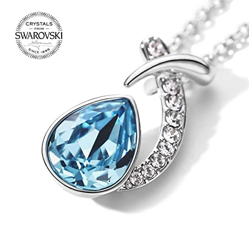 1700f7093 Image Unavailable. Image not available for. Color: T400 Blue Water Drop  Made with Swarovski Elements Crystal Pendant Necklace Birthday Gift ...