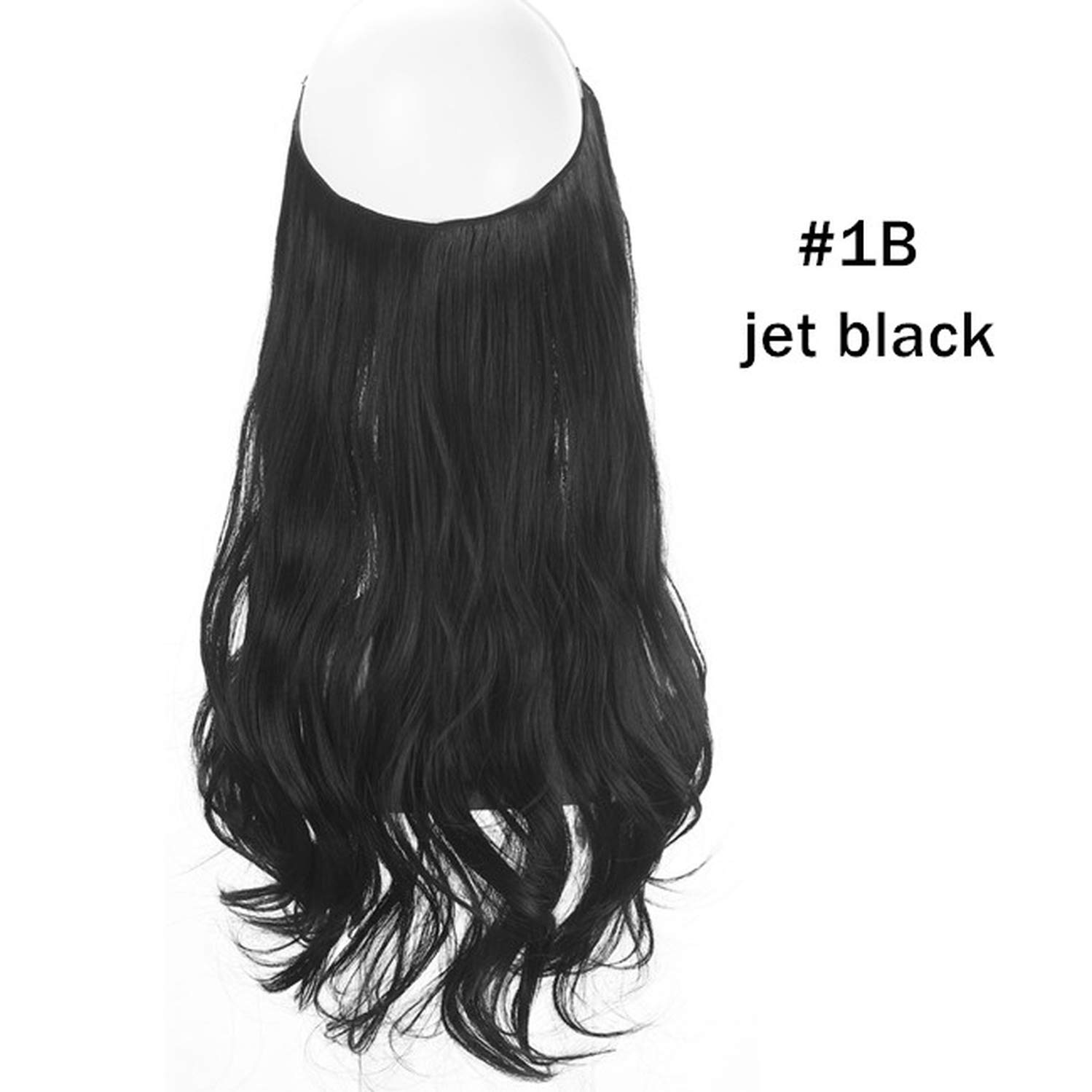 14'' 16'' 18'' 120g Wave Halo Hair Extensions Invisible Ombre Bayalage Synthetic Natural Flip Hidden Secret Wire Crown Grey Pink-in Synthetic Clip,Jet Black,14inches by Peony red