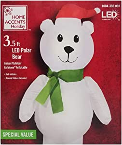 Home Accents Holiday 3.5 ft Christmas Airblown Inflatable Polar Bear-SM (HD)