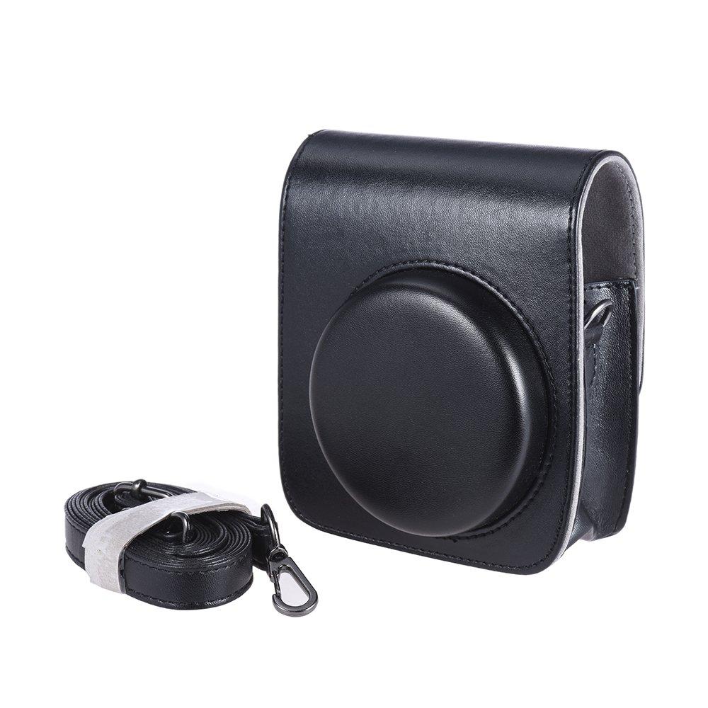 AndoerヴィンテージPU保護カメラケースバッグポーチカバープロテクターW /ストラップfor Fujifilm Instax Mini 90インスタントフィルムカメラブラウン 4332175582 B071RP4GS5 ブラック