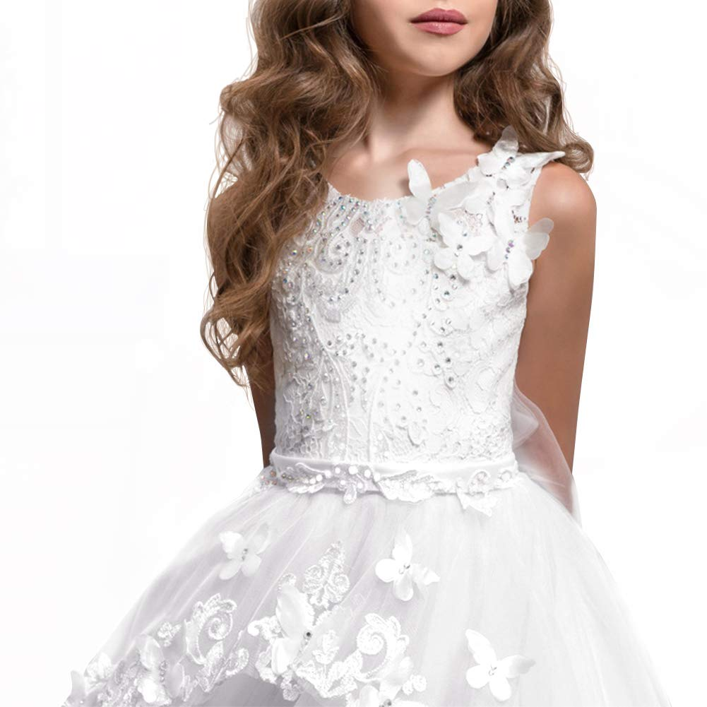 OBEEII Bambina Abito in Pizzo a Maniche Lunghe Elegante Vestito da Principessa Cerimonia Sera Sposa Prima Comunione Damigella Bambina Cocktail Prom per Ragazze 2-13 Anni