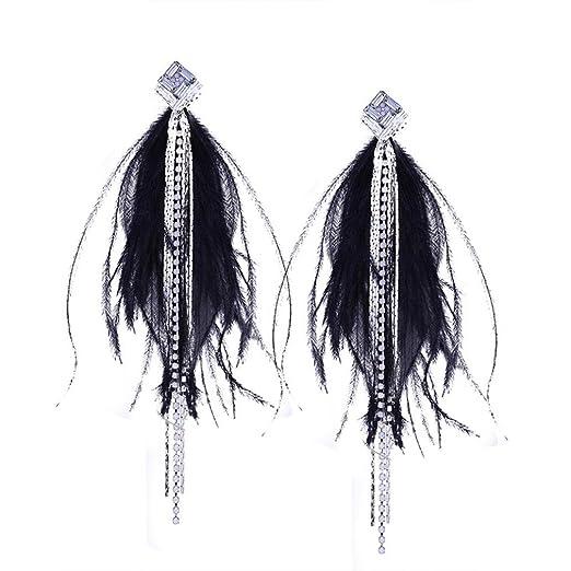 34dc4be7c4b21 Amazon.com: Women Fashion Bohemian Feather Tassel Long Dangle ...