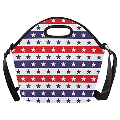 3d9057c2d362 InterestPrint Stars and Stripes Large Reusable Insulated Neoprene Lunch  Tote Bag Cooler 15.04