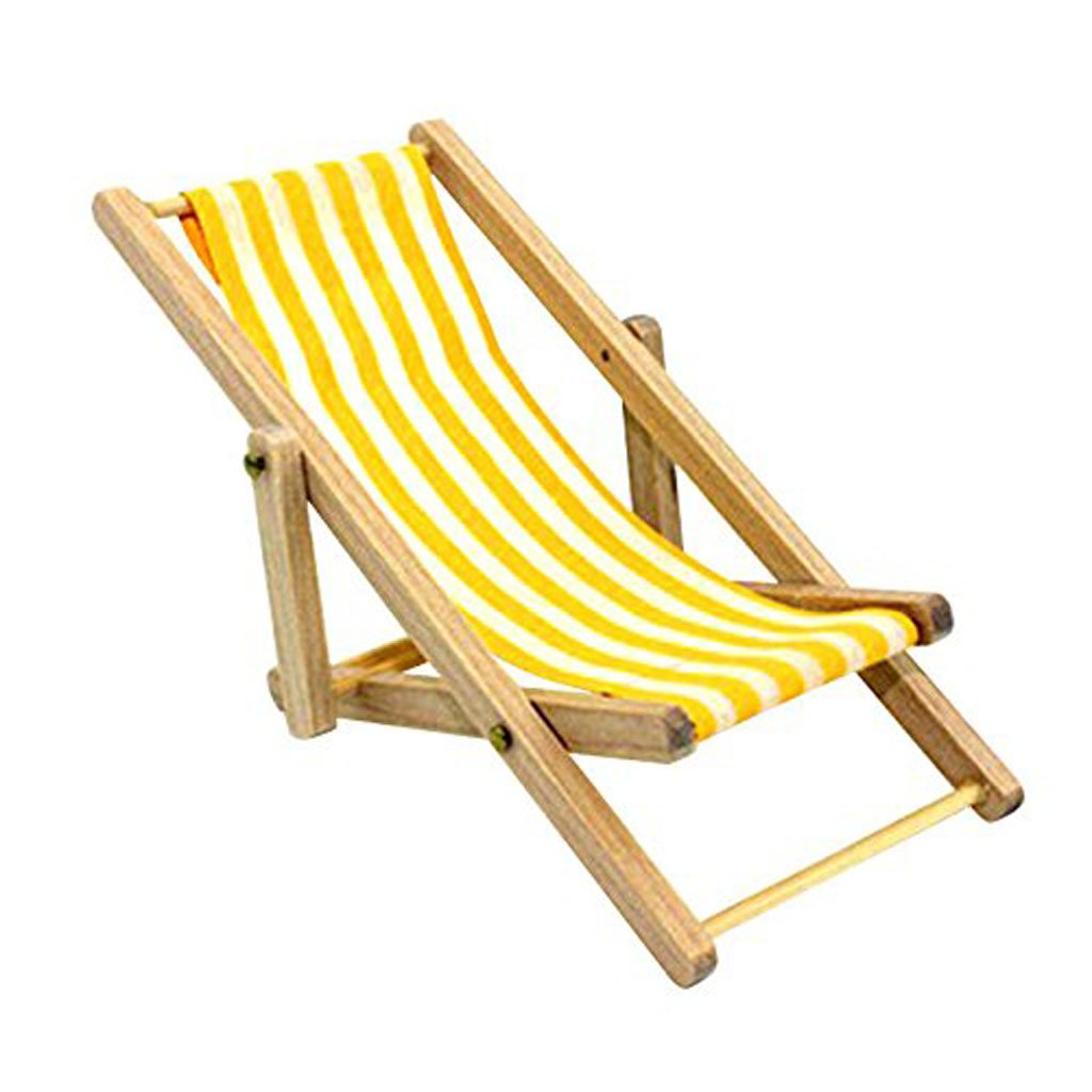 1/12 Dollhouse Miniature Foldable Beach Deck Chair Chaise Longue Furniture Yellow White Stripe