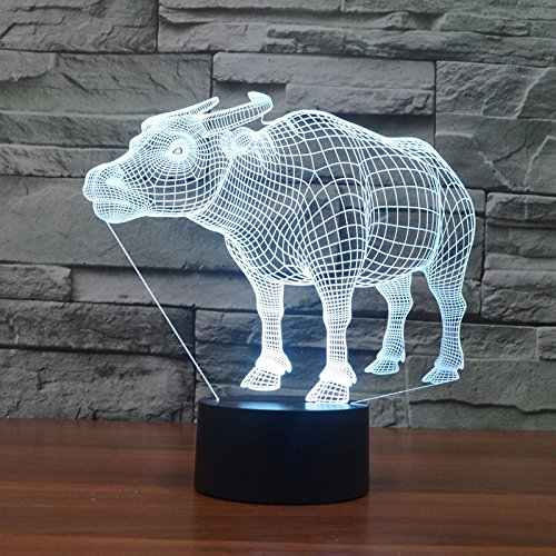 3D Buffalo Usb Table Desk Lamp Acrylic Night Light Touch Switch 7 Colors ()