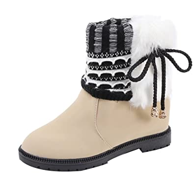 Young Women Girls Winter PU Leather Material Water Resistant Warm Snow Boots
