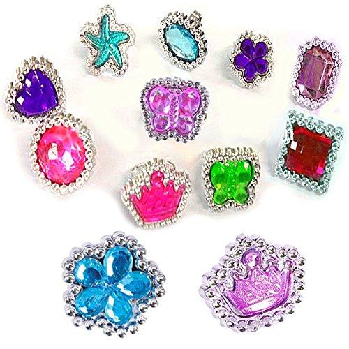 German-Trendseller ® 6 x bagues fantaisie en optique pierreries fines ┃ bijoux enfants┃coeurs, fleurs, papillons, étoiles, couronnes┃couleur scintillant