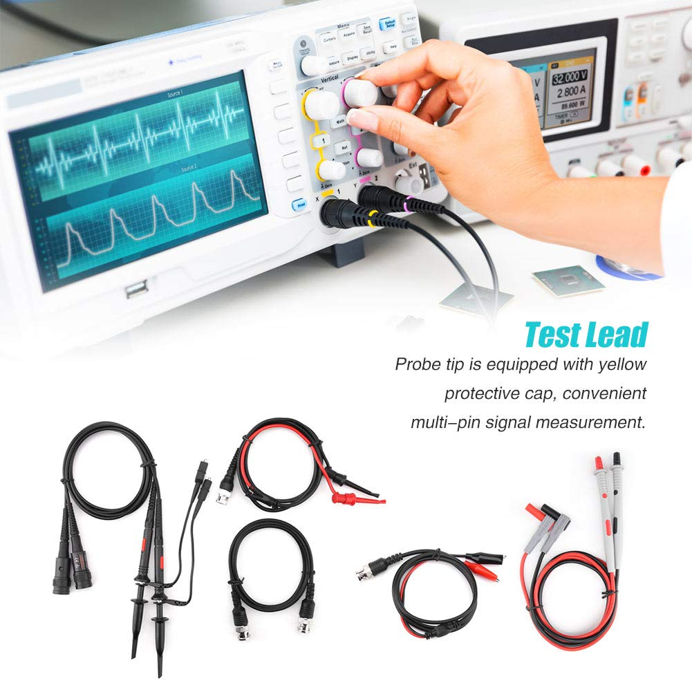 P1260D Oscilloscope Multimeter Test Leads with Crocodile Clips Replaceable Probe Tips Set Multimeter Cable Clamp Replaceable Probe Test Lead Kits with Alligator Clips