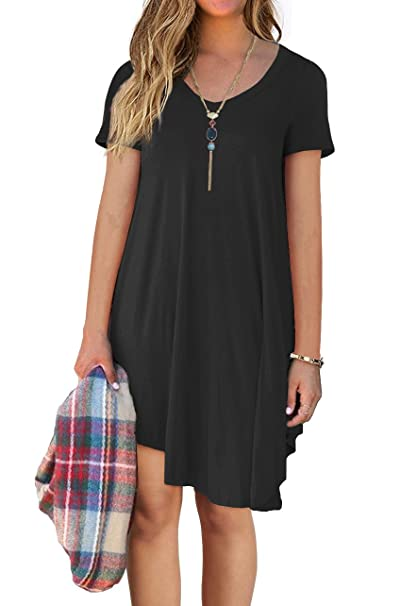 48214071536a POSESHE Women s Short Sleeve Casual Loose T-Shirt Dress at Amazon ...