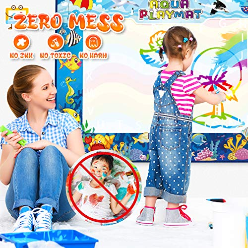 Water Doodle Mat, 47×35 Inches Extra Large Writing Drawing Mat Aqua Magic Mat Educational Toys for Age 3 4 5 6 7 8 9 10…