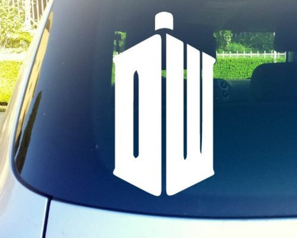 CCI083 Any/… Dw Taris Doctor Who Logo 6 White Vinyl Decal Sticker for Car Automobile Window Wall Laptop Notebook Etc...
