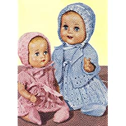 Vintage Knitting PATTERN to make - 10-12 inch Baby Doll Clothes Dress Bonnet. NOT a finished item. This is a pattern and/or instructions to make the item only.