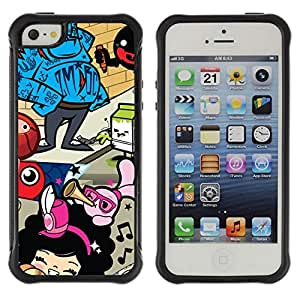 Hybrid Anti-Shock Defend Case for Apple iPhone 5 5S / Abstract Colorful