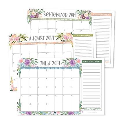 January 2020 Calendar 11x17 Amazon.: Floral 2019 2020 Large Monthly Desk or Wall Calendar