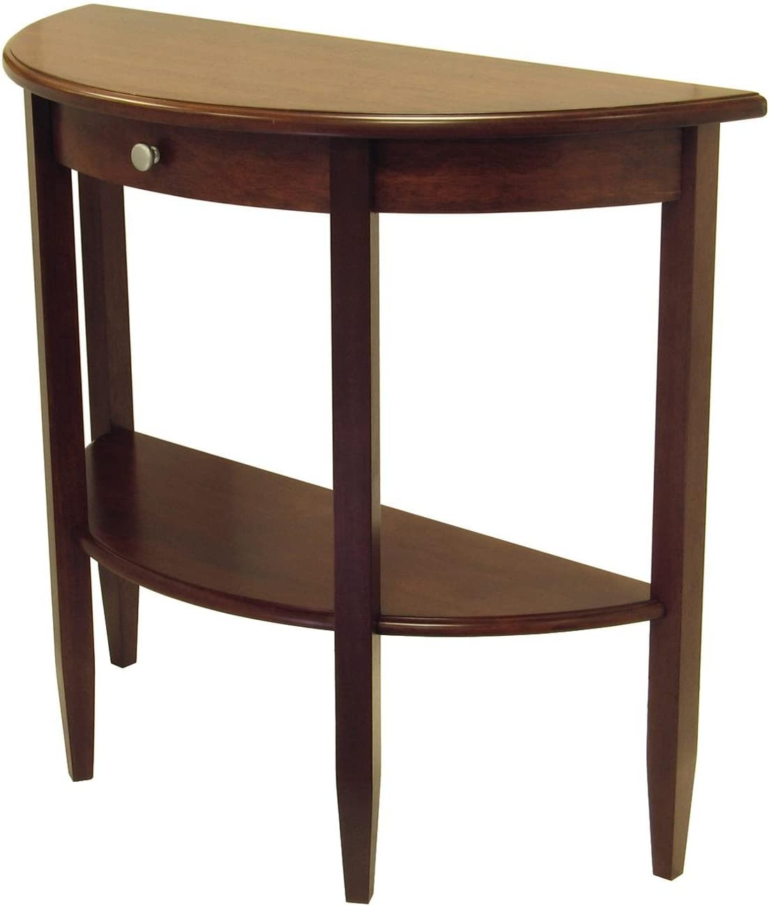 Concord Hall Console Table, Half Moon with Drawer, Shelf