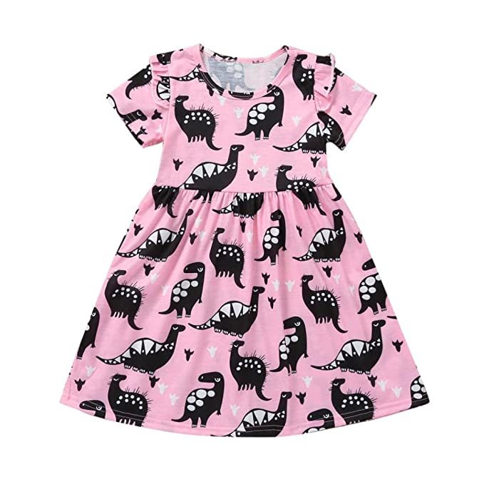 b0cbc9f0d095 Sagton Baby Dresses, Cute Dinosaur Printing Kids Toddler Girls Dress Skirt  Clothes (Pink,