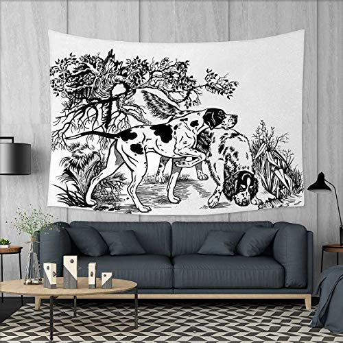 Tapestry Setter English (Anniutwo Hunting Beach Throw BlanketHunting Dogs in The Forest Monochrome Drawing English Pointer and Setter Breeds Tapestry Wall Hanging 3D Printing W60 x L40 (inch) Black White)