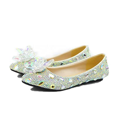 54cfcc102b4 Amazon.com  Lacitena Women s Pointed Toe Crystal Shoes,Casual ...