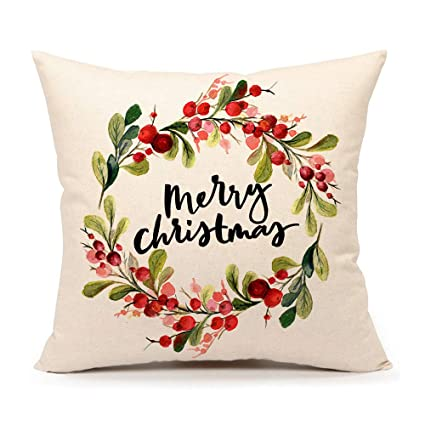"4TH Emotion Merry Christmas Berry Wreath Throw Pillow Cover Cushion Case for Sofa Couch 18"" x 18"" Inch Cotton Linen best Christmas throw pillows"