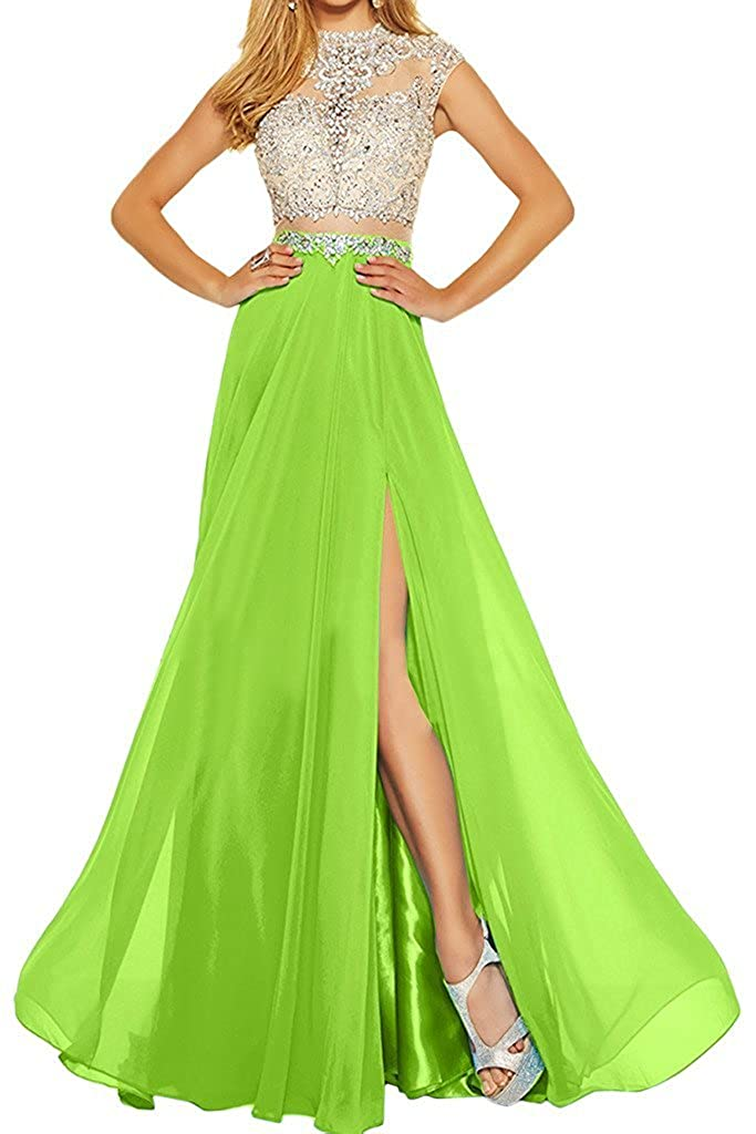 Green MariRobe Women's Beading Evening Dress Split Illusion Prom Gown Sleveless Backless Dance Dress for Girls Pink