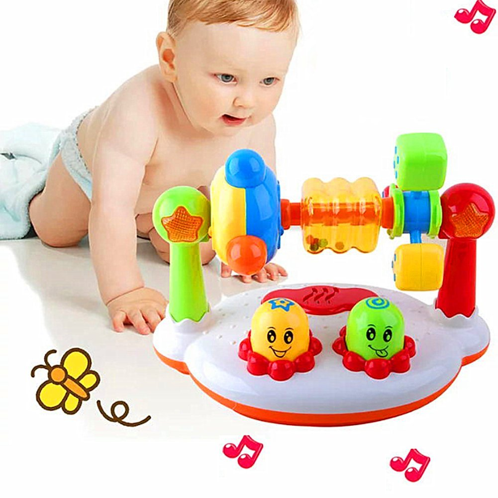 Minibaby Baby Kids Music Toys,Learning and Development Toy Spin Rattle for Toddler Early Educational Game