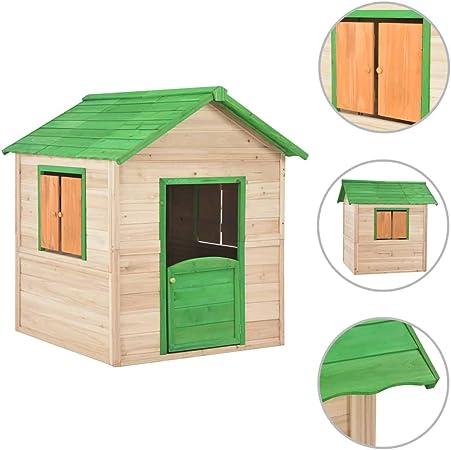 vidaXL Casa de Juegos de Niños de Madera Estructuras Juegos Aire Libre Casitas Infantiles Cobertizos Camping Caseta Acampada Jardín Terraza Verde: Amazon.es: Juguetes y juegos
