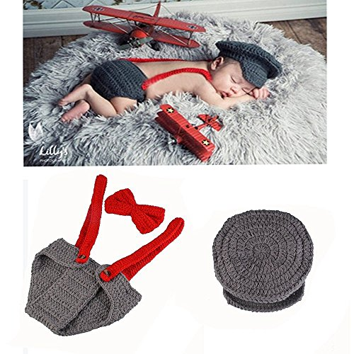 MSFS Baby Photo Costume Crochet Outfits Photograph Props Cap Beanie with Suspenders Bowtie Diaper (Gentleman) (Crochet Costume)