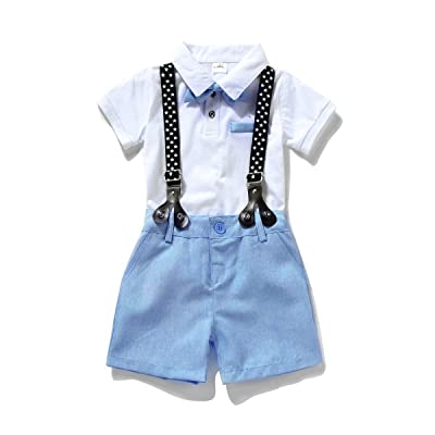 Miniowl Toddler Boys 2 Pcs Set Gentleman Bowtie Polo Shirt Bid Shorts Overalls