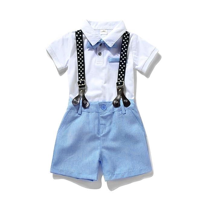e8ba0d8adee Miniowl ® Toddler Boys 2 PCS Set Gentleman Bowtie Polo T-shirt Bid Shorts  Overalls