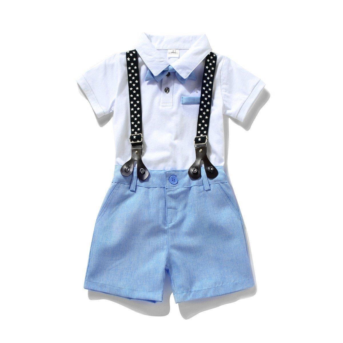 Miniowl ® Toddler Boys 2 PCS Set Gentleman Bowtie Polo T-shirt Bid Shorts Overalls (2t, White)