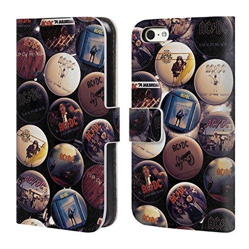 Officiel AC/DC ACDC Album Épingles De Bouton Étui Coque De Livre En Cuir Pour Apple iPhone 5c