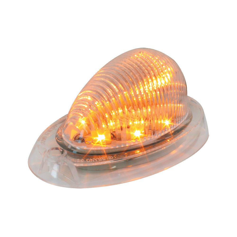 Grand General 76372 Amber Oval 12-LED Side Marker and Turn Signal Sealed Light with Chrome Bezel for Freightliner Century//Columbia