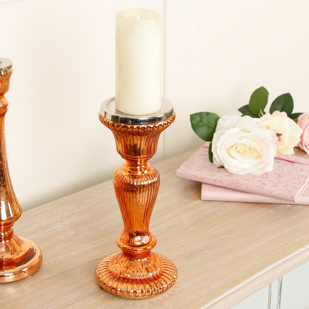 Beautiful Decorative Copper Gilt Candle Holder, Perfect for Displaying Pillar Candle Holders! Amazing Accessory! Fabulous for any room of your home! Complements Existing Decor! Stylish Copper Colour! H 25.5 cm