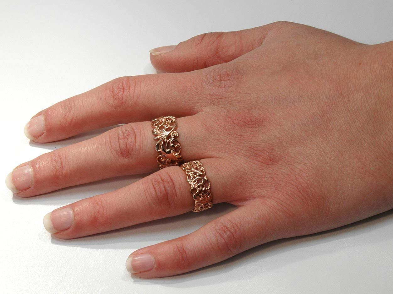Heavy Quality Solid 9ct Rose Gold Wide FILIGREE Band Ring