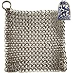 Cast Iron Cleaner, Stainless Steel Scrubber - XL 8x6 Inch Chainmail Scrubber for Skillet
