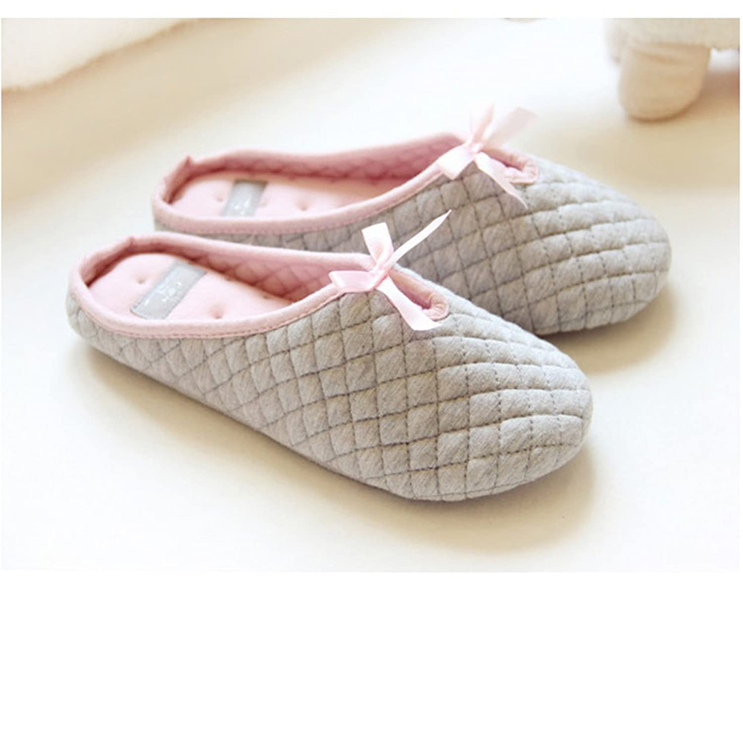 Amazon com   Women Lady s Slip on Checkered Soft Warm Breathable Cotton  Anti skid Slippers Mules with Lovely Bow Cozy Home Household Footwear Shoes. Amazon com   Women Lady s Slip on Checkered Soft Warm Breathable