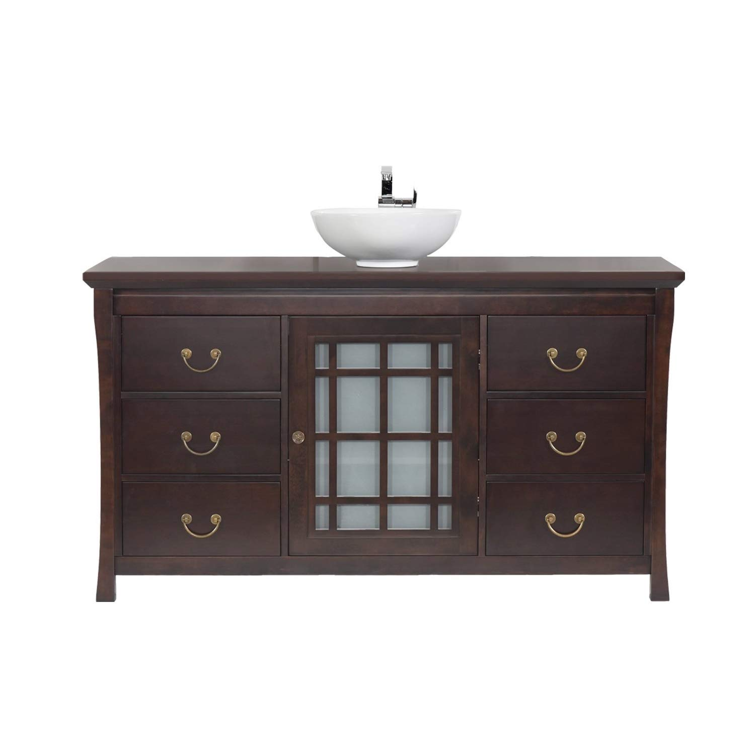MAYKKE Shoji 64 Pacific-Rim Single Bathroom Vanity Set in Vintage Walnut, Wood Vanity Top in Vintage Walnut, Ceramic Vessel in White LBA0460005