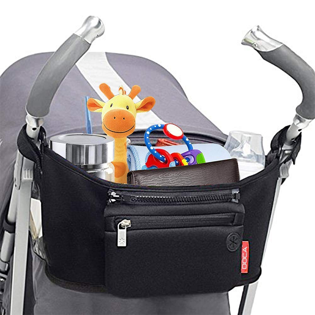 Universal Stroller Organizer Bag,DOCA Pram Buggy Organiser Storage Bag with Cup Holders,Headphone Port & Removable Compartments - Large Space for Buggies Pushchair【Black】
