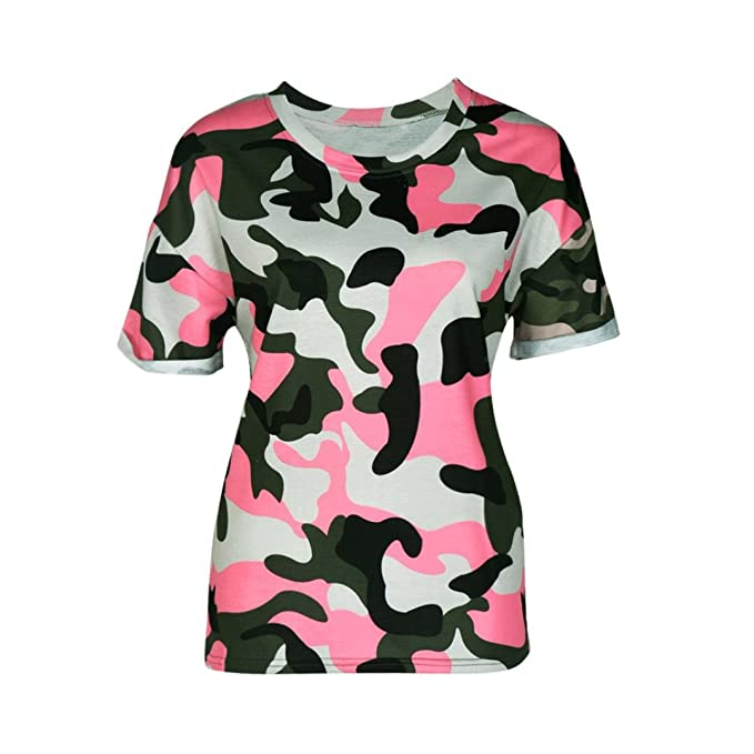 OverDose Moda de Las Mujeres de Manga Corta de Camuflaje Imprimir T-Shirt Blusa Tops: Amazon.es: Ropa y accesorios