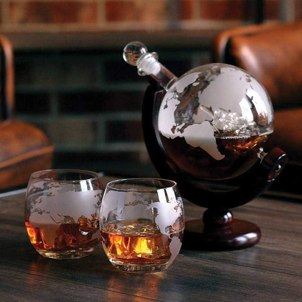Incluye Vasos 1500 ml OS Oak /& Steel ENGLAND Set de Regalo Decantador en Forma de Globo Piedras de Whisky y Tap/ón de Vidrio