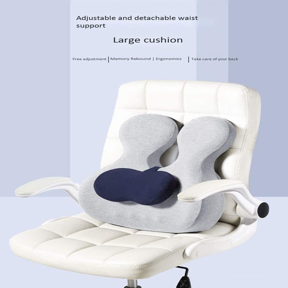 qwe XISABCS ryggstödskudde minnesskum sittkudde, passar kontorsstol, rullstol, bilstolskudde (färg: A) a