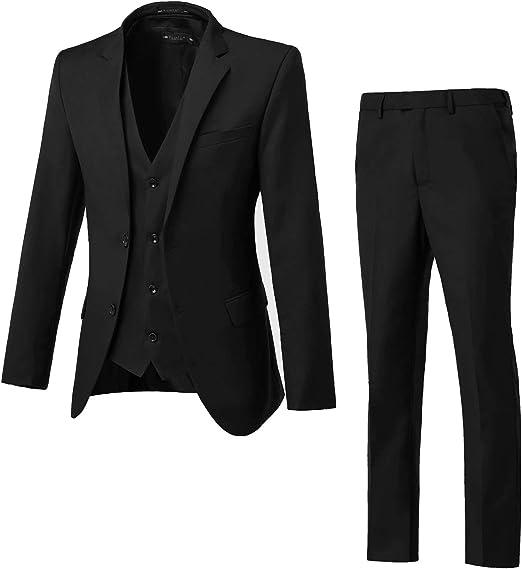 TTOOHHH Men/'s Casual Suit Slim 3-Piece Suit Business Wedding Party Jacket Vest /& Pants