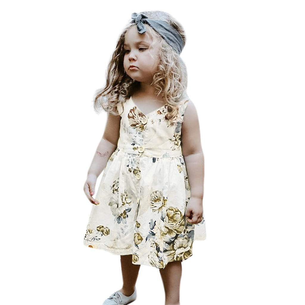 Fiaya Toddler Kids Baby Girl Summer Short Dress Princess Button V-Nest Sleeveless Floral Outfits