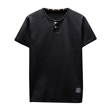 Amazon.com: kaifongfu Mens Shirt,Clearance Mens Linen and Cotton Short Sleeve O-Neck T-Shirt Top Blouse Tee: Clothing