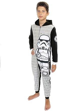 87c16b1dff271 Lego Star Wars Stormtrooper Boys Fleece Hooded Union Suit Pajamas (4-5, Grey