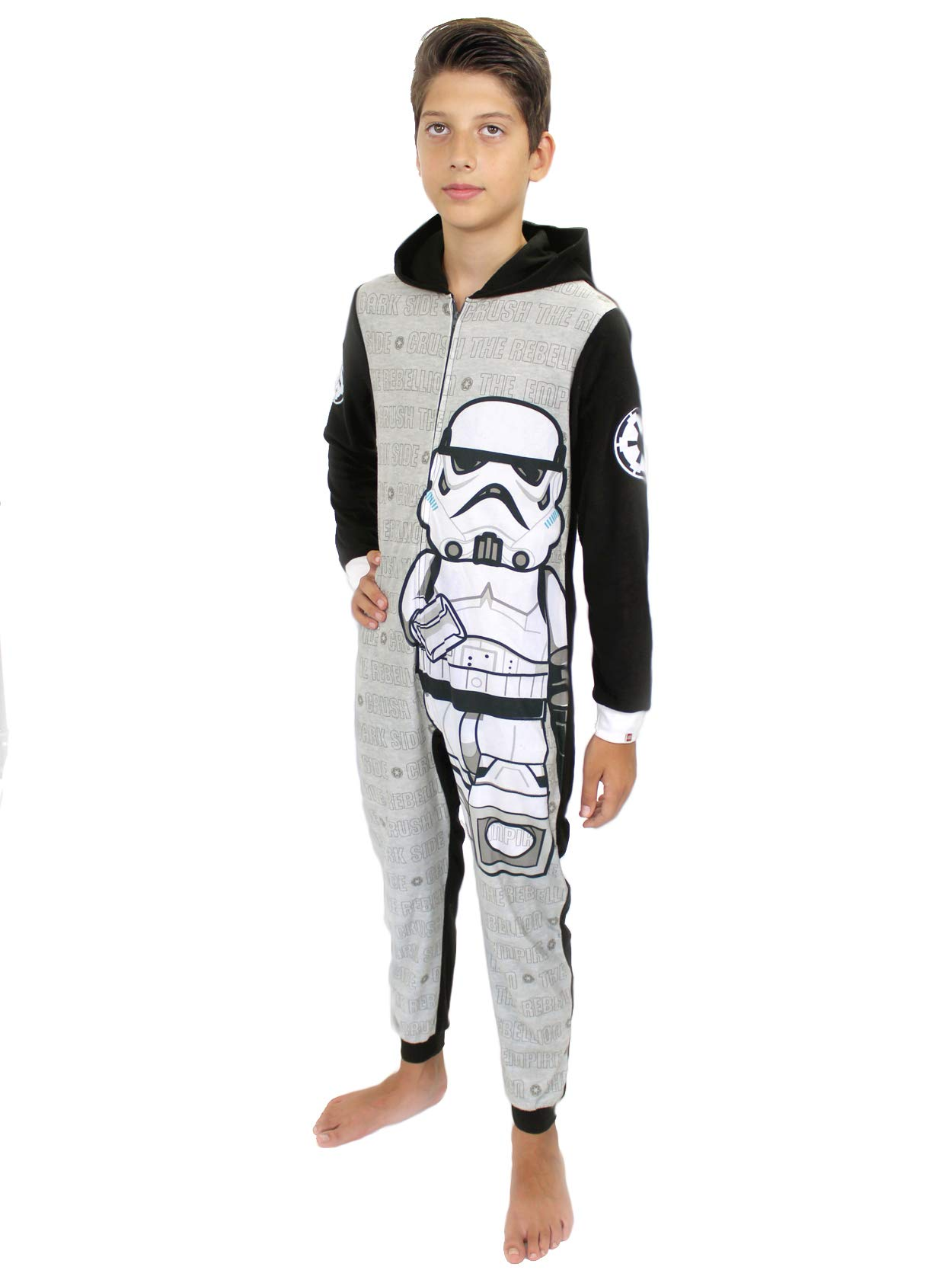 Lego Star Wars Stormtrooper Boys Fleece Hooded Union Suit Pajamas (10-12, Grey/Black)