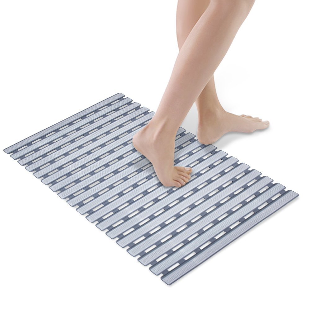Bathtub Mat, HALOViE Shower Mats Non-Slip Mildew Resistant Anti-Bacterial Superior Grip & Drainage 114 Suction Cups Highest Quality Materials 24.80'' x 15.75'' Gray