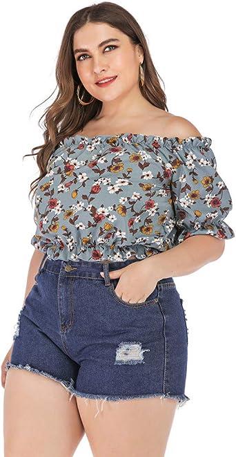 Camiseta De Algodón Y Lino Manga Corta para Mujer Camisa Informal con Estampado Fuera del Hombro Cuello Alto Linterna Gran Tamaño Gasa Trompeta Sexy Femenina: Amazon.es: Ropa y accesorios